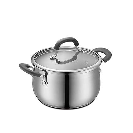 Olla JXLBB Sopa Acero Inoxidable 304 Engrosamiento del Hogar Cocina de Oído de Doble Fondo 20