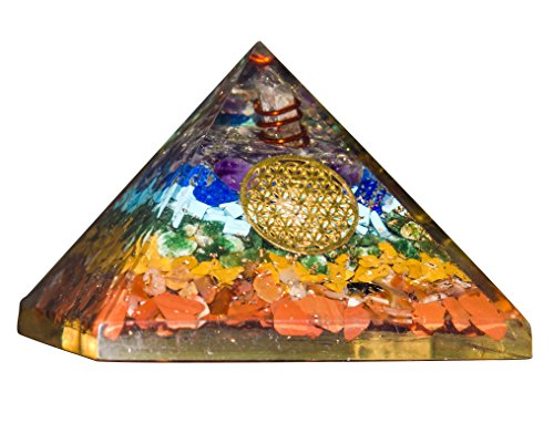 Crocon Seven Chakra Gemstone Orgone Pyramid With Crystal Point Metal Flower Of Life Energy Generator For Reiki Healing Aura Cleansing & EMF Protection Size: 3-3.5 (3 Flowers Healing)