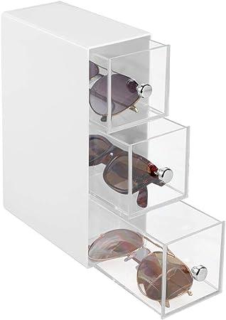 mDesign Caja para gafas de sol – Cajoneras de plástico para lentes con 3 cajones – Organizador de armarios para gafas, gafas de sol y gafas de lectura – blanco/transparente: Amazon.es: Hogar
