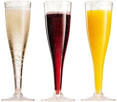 100 Pack Plastic Champagne Flutes 5 Oz Clear Plastic Toasting Glasses Disposable Wedding Thanksgiving Party Cocktail Cups 7
