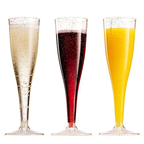 100 Pack Gold Glitter Plastic Champagne Flutes ~ 5 Oz Clear Plastic Toasting Glasses ~ Disposable Wedding Party Cocktail Cups by Munfix (Image #2)