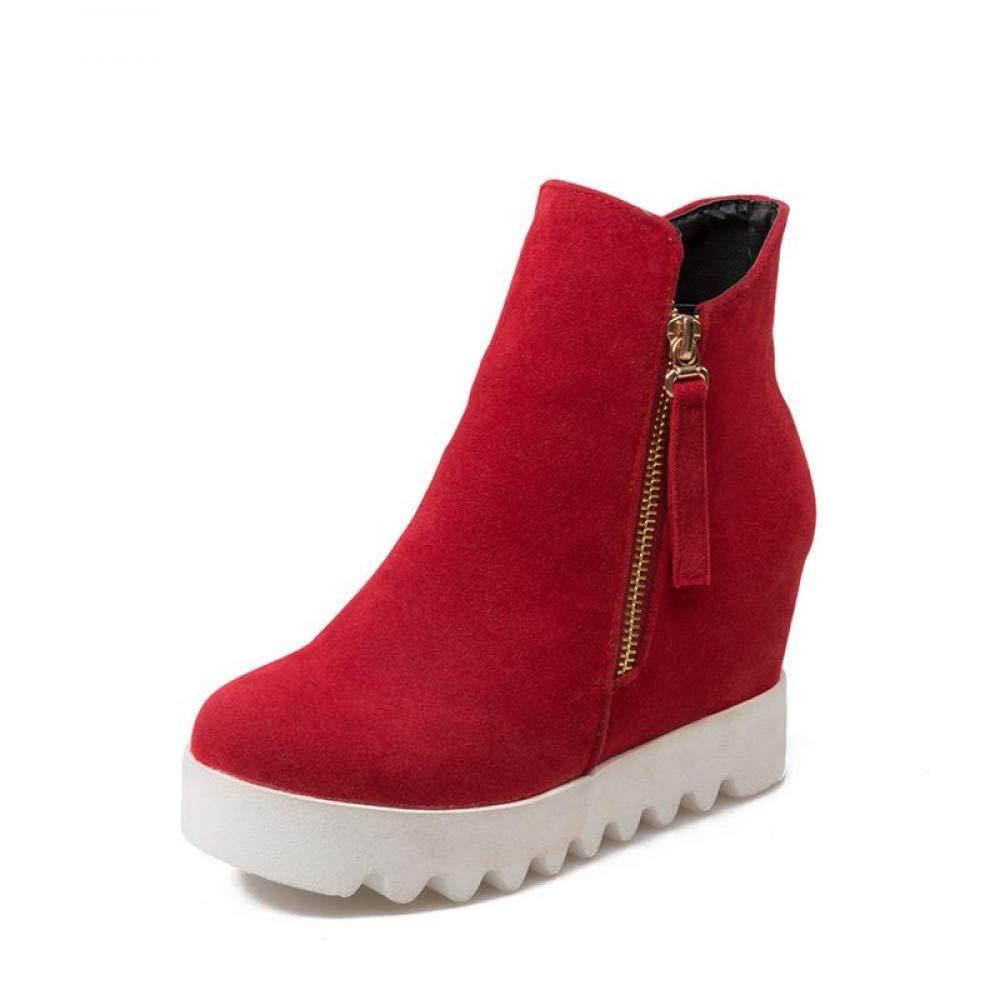 PINGXIANNV Ankle Stiefel Feste Höhe Zunehmende Stiefel Für Frauen Reissverschluss Pu-Plattform Stiefel Partei