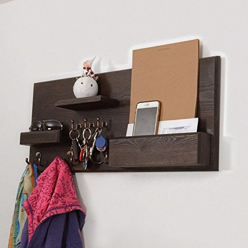 Woodymood Welcome Wall Organizer Shelf, Key Hooks, Coat Hooks, Racks, Ledge, W:27.5'' L:3.4'' H:12'' (Dark Brown)