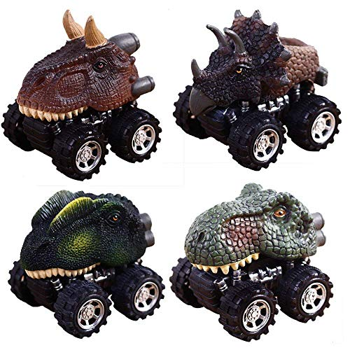 Dino Pull Back Original Dinosaur Cars 4-Pack Toy with Big Tire Wheel for 2-14 Year Old Boys Girls Creative for Kids Animal Vehicles for Kids Party Favors