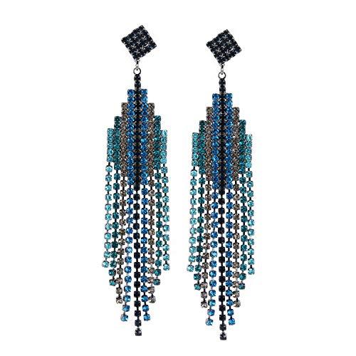 (Bohemian Crystal Tassel Dangle Earrings Party Prom Fashion Jewelry Long Pendant gift for Women Girl Best Friend by Phoebe-lulu)