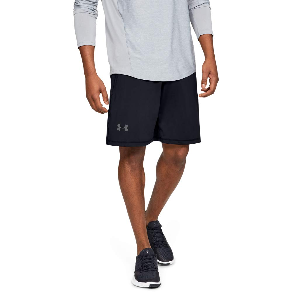 Under Armour mens Raid 10-inch Workout Gym Short, Black (001)/Graphite, X-Small