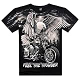 Katoot@ Summer 3D Eagle Motorcycle Men Streetwear Feel Thunder T-Shirts Casual Cotton Short Tees (XL, Eagle)