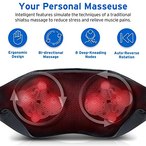 Etekcity Cordless Neck Massager, Deep Shiatsu Kneading Back & Shoulder Massage with Heat for Muscles Pain Relief Relaxation, Adjustable Straps,...