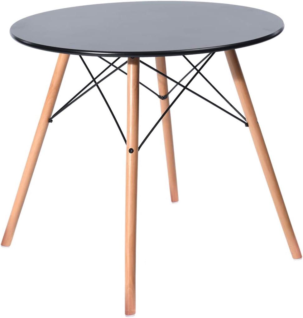 H.J WeDoo Tavolo da Pranzo Rotondo Bianco Tavolo da Cucina in Stile Moderno con Gambe in Legno di faggio 80 x 80 x 72 cm