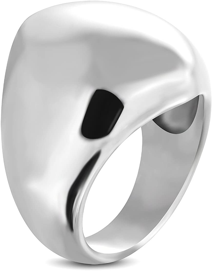 Stainless Steel Geometric Oval Cocktail Dome Ring