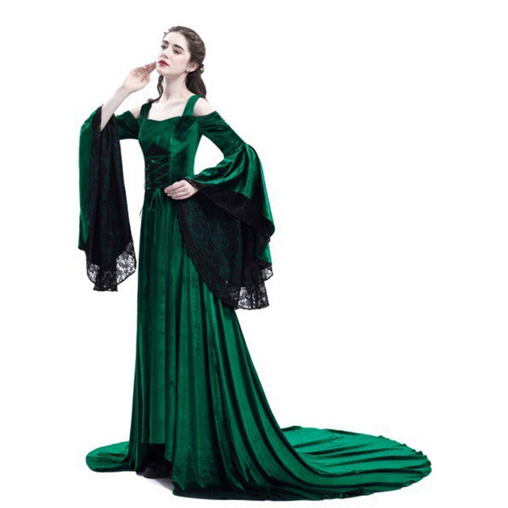 Mikilon Medieval Dress Long Renaissance Costume Gown Irish Over Deluxe Victorian Vintage Cosplay Women Green