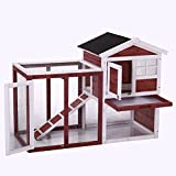 "LAZYMOON 48"" Medium Wooden Chicken Coop Rabbit Hutch /Hen House Cage Outdoor Run"