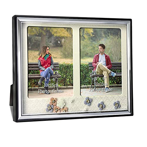 Amazing Roo Picture Frames Glass Front with 2 Opening 4x6 Shadow Box Frame, 4 by 6 Family Pictures Decor with Flowers for Wall and Tabletop -