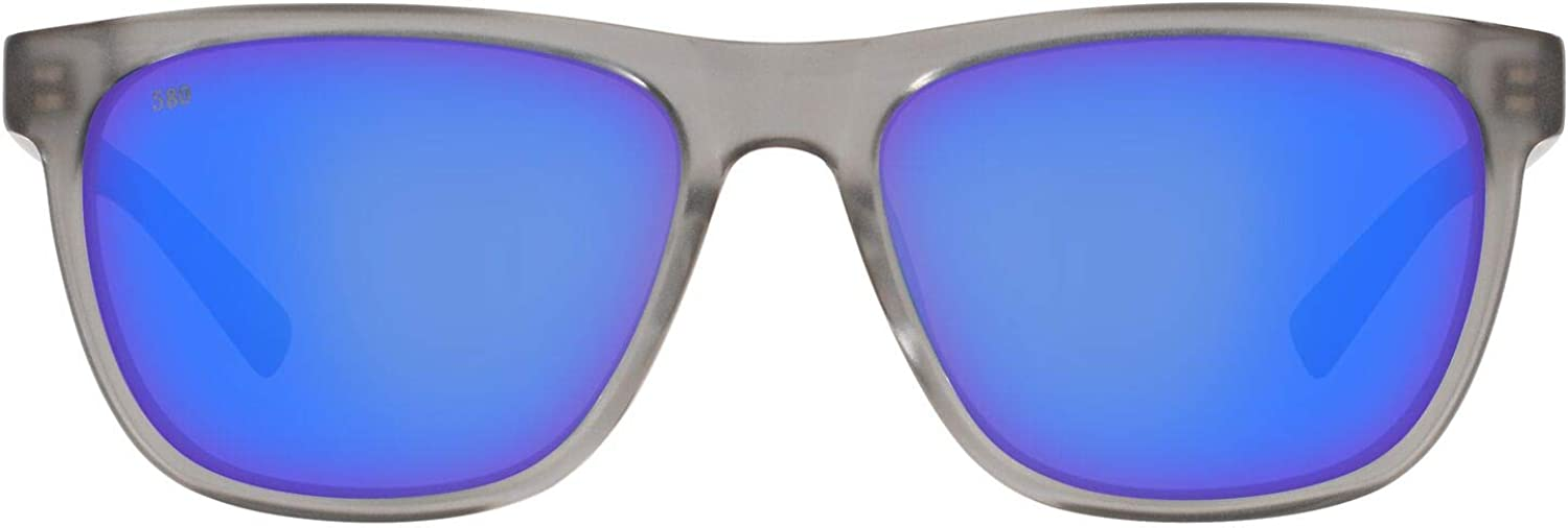 Apalach Rectangular Sunglasses, Matte Grey Crystal/Grey Blue Mirrored Polarized, 60mm