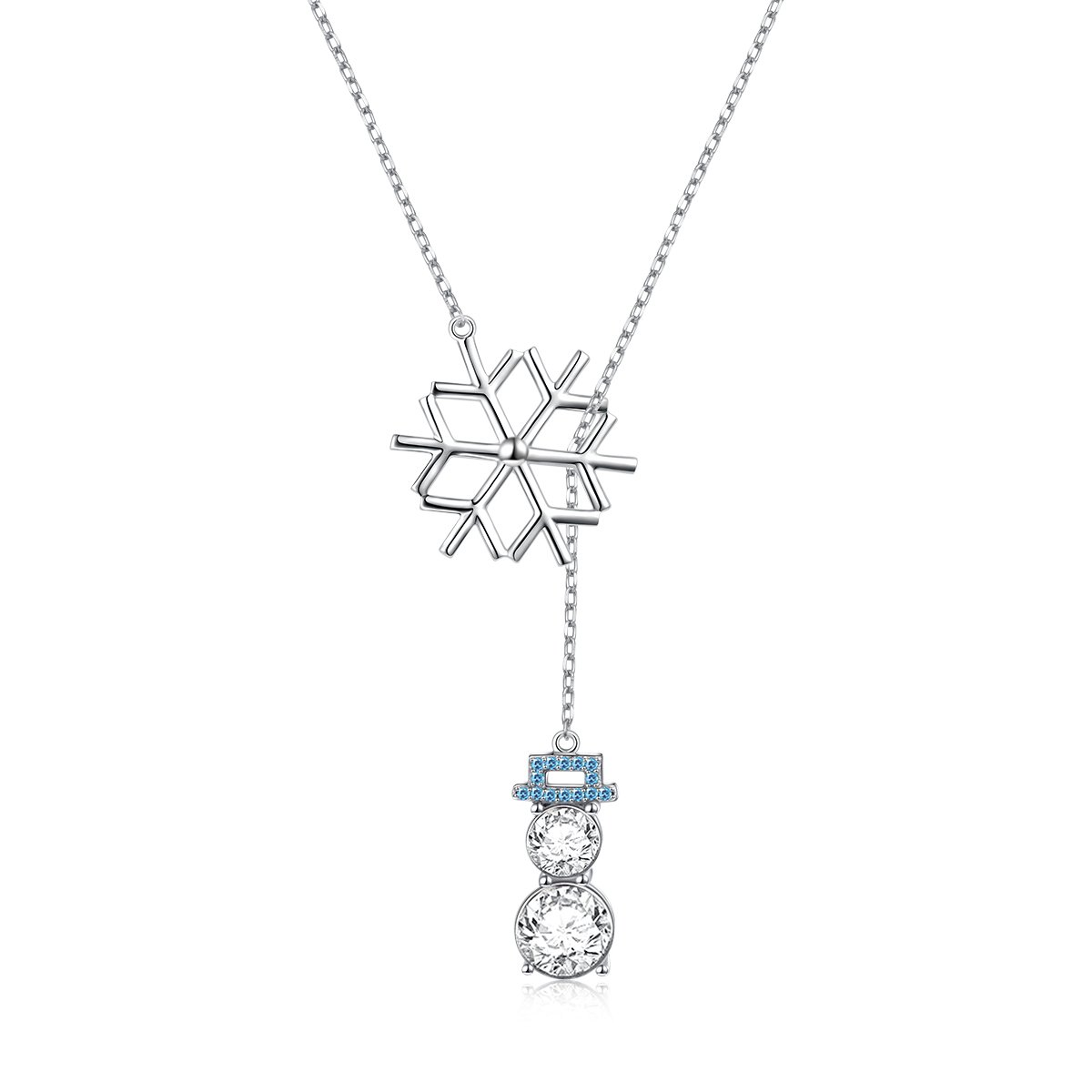 """LINLIN FINE JEWELRY 925 Sterling Silver CZ Snowflake Cute Snowman Y-Shaped Lariat Necklace for Women Girls,20"""""""