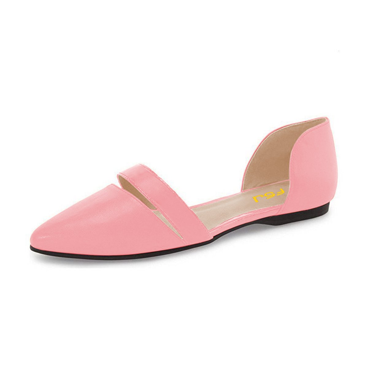 FSJ Women Cute D'Orsay Ballet Flats for Comfort Pointed Toe Low Heels Dress Shoes Size 4-15 US B06Y49RC4B 10 B(M) US|Pink