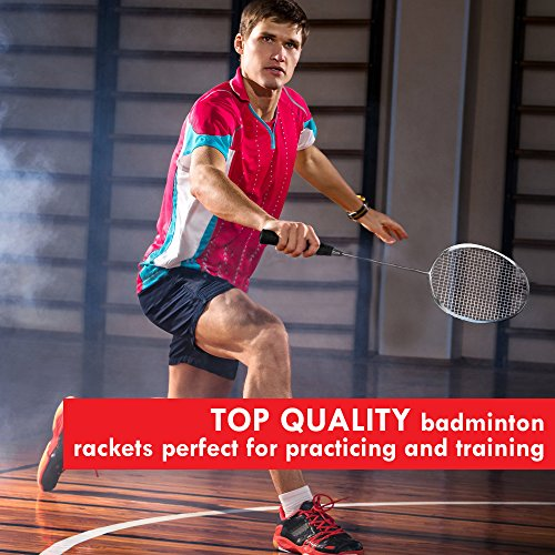Trained Premium Quality Set of Badminton Rackets, Pair of 2 Rackets, Lightweight & Sturdy, with 5 LED SHUTTLECOCKS, for Professional & Beginner Players, Carrying Bag Included by Trained (Image #3)