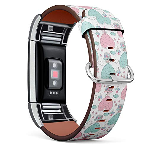 Compatible with Fitbit Charge 2 - Replacement Accessory Leather Band Strap Bracelet Wristbands with Adapters (Cute Teddies Bears Air)