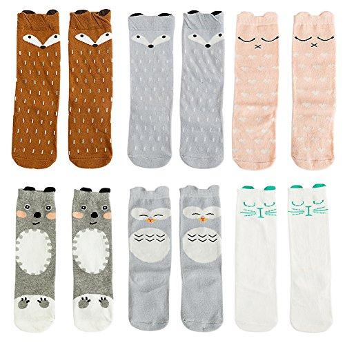 VWU 6 Pairs Baby Girls Boys Cartoon Knee High Stockings Tube Socks 1-5Y (0-1 years, Set 5)