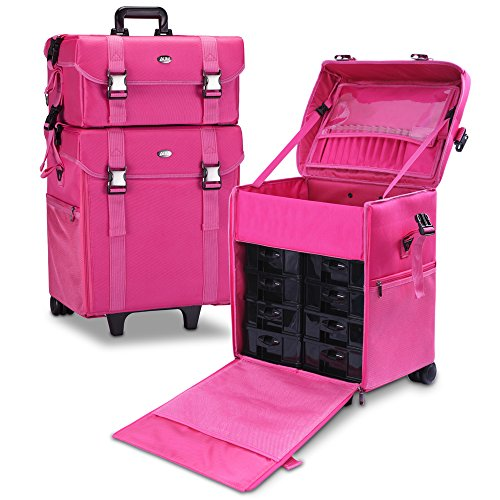 MUA LIMITED 2 in 1 Pro Makeup Artist Case on Wheels, Multifunction Cosmetic Organizer with Removable Drawers, Beauty Trolley, Soft Case with PREMIUM Buckles, ULTIMATE Series - Pink by MUA Limited
