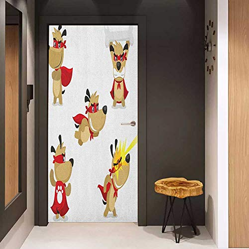 Onefzc Door Sticker Mural Dog Superhero Puppy with Paw Costume and Mystic Powers Laser Vision Supreme Talents WallStickers W38.5 x H77 Red Cream White