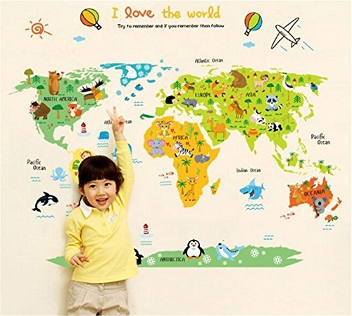 ufengke Cartoon World Map Cute Animal Wall Decals, Children's Room Nursery Removable Wall Stickers Murals ()