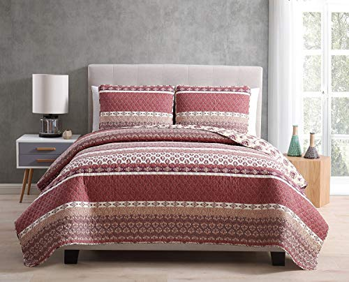3 Piece Morgan (Morgan Home Printed 3 Piece Reversible Quilt Set with Shams - All Season Comfort, Available in, Colors & Sizes (Burgundy, Full/Queen))