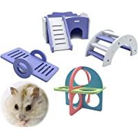 Hamster Purple House Hamster Toys Exercise Rings Seesaw and Climbing Ladder Play Toys for Small Animals(4pcs)