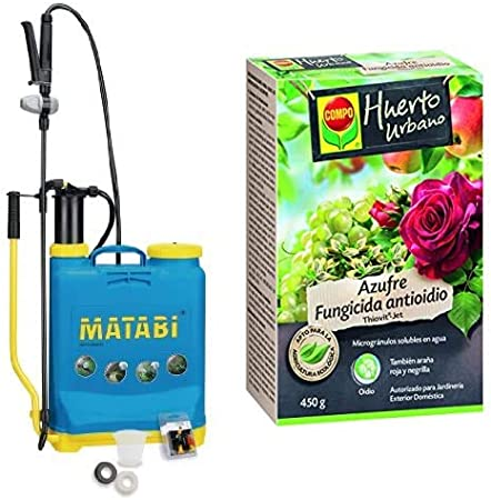 Matabi Super Green Pulverizador, presión retenida, talla 12, color azul + Compo Azufre fungicida anti oídio, Microgránulos solubles en agua