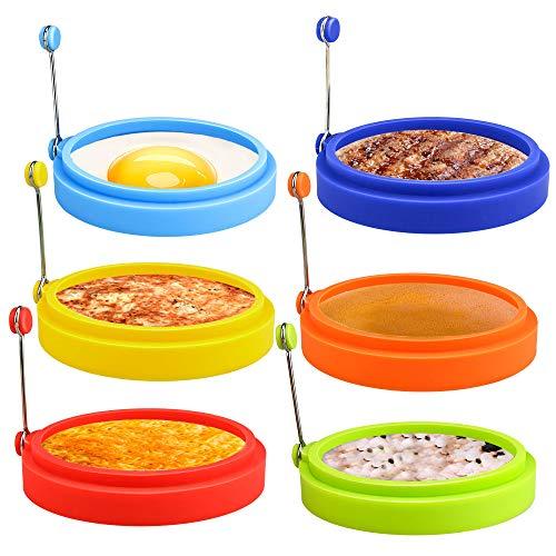 Winkeyes 6pcs Silicone Egg Rings,Egg Mcmuffin Ring, Non Stick Fried Egg Ring Mold, Pancake Ring, Breakfast Egg Sandwich Cooker Maker
