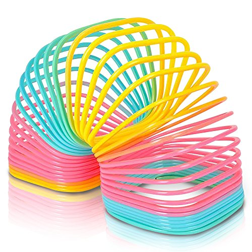 Jumbo Square Coil Spring Toy for Kids | Giant Coil Spring Toy | 4.75 Inch Giant Plastic Rainbow Colored Coil Spring | Great Gift Idea for Boys and Girls/ Fun Birthday Party Favor, Novelty Gift