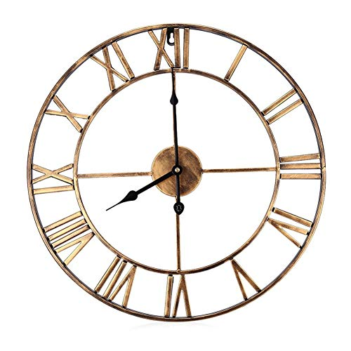 (JRMU Round Metal Wall Clock, Decorative Hollow Out Wrought Iron Wall Clocks Vintage Roman Numeral Quartz Sweep for Office Bedroom-B 40cm(15.7in))