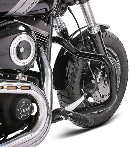 Pare Cylindre Mustache pour Harley Davidson Dyna Street Bob 06-17 Noir