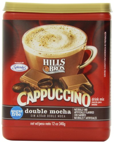 (Hills Bros. Instant Cappuccino Mix, Sugar-Free Double Mocha Cappuccino Mix - Easy to Use, Enjoy Coffeehouse Flavor from Home - Frothy, Decadent Cappuccino with 0% Sugar and 8g of Carbs)