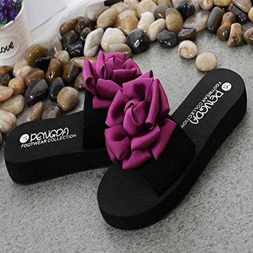 À Sandales Plage Sandales Muium Plein Les De Talons Femmes Air À Plat Chaussures Intérieur Mode En De Rouge Fleurs Dames Fond Épaisses Ezqnpfwn8x