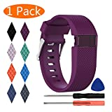 KingAcc Fitbit Charge HR Bands, Silicone Accessory Replacement Band for Fitbit Charge HR, With Metal Buckle Fitness Sport Wristband Strap Women Men (1-Pack, Dark Purple/Plum, Large)