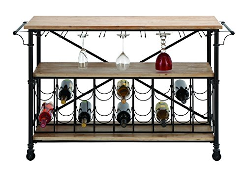 "Bar On Wheel - Metal Wood Wine Table 48""W, 31""H"