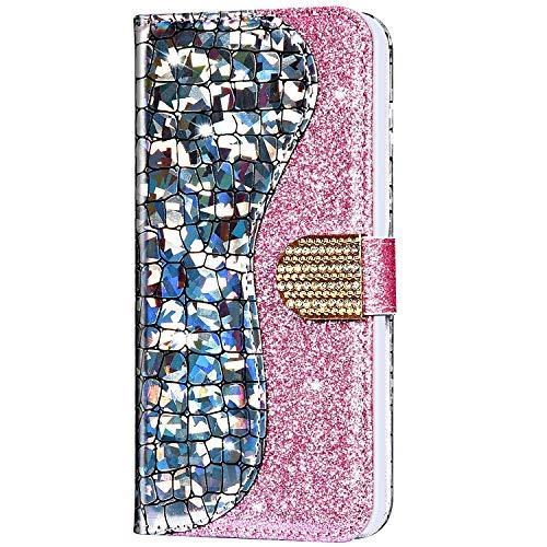 YSIMEE Compatibile con Cover Samsung Galaxy A40 Custodie Laser Brillantini Glitter Pelle Folio Morbida Portafoglio Antiurto Kickstand Slot Per Schede Chiusura Magnetica Flip Cover,Argento