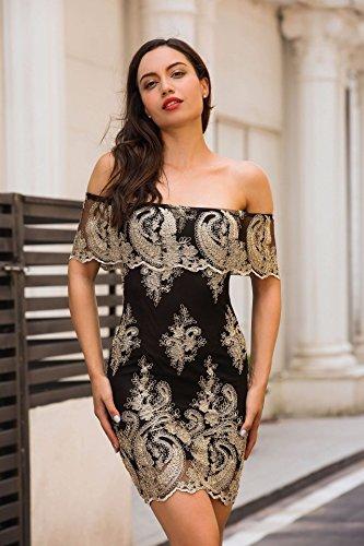 Vestido Bordado De De Noche Casual Meizizivestido black Vestido Encaje MeiZiZi 7qSgBRq