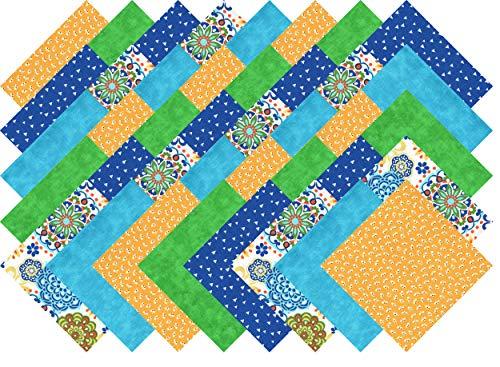 Fabric Dark Blue Quilt (Blue Green Yellow Brights Charm Pack 40 Precut 5