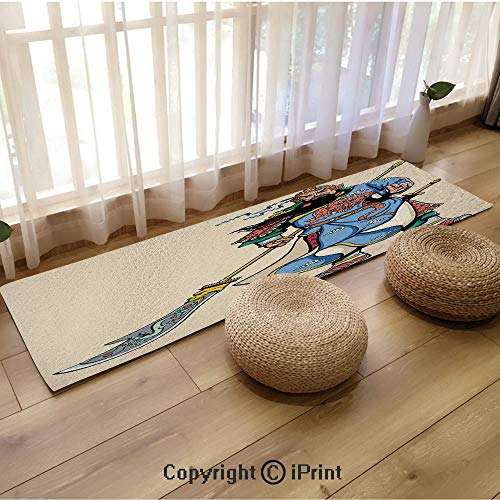 Extra Long Flannel Floor mat,Legendary Chinese General Figure and Letters Brave Soldier Sword Decorative Multicolor,18