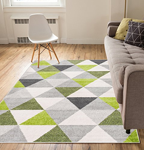 Pattern Woven Rug - Isometry Green & Grey Modern Geometric Triangle Pattern Area Rug Soft Shed Free 5 x 7 (5' x 7') Easy to Clean Stain Resistant