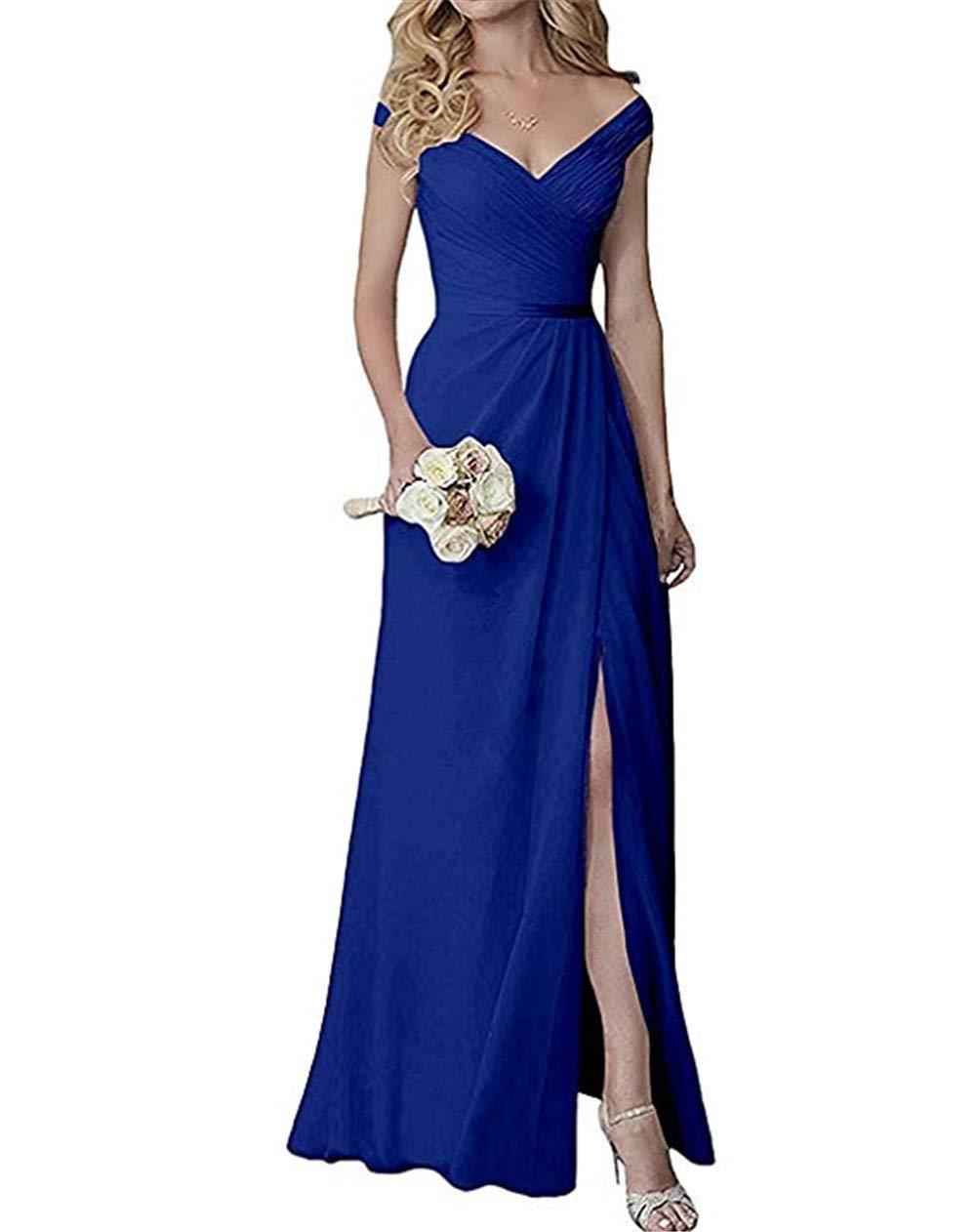 Off The Shoulder Bridesmaid Dresses Long V Neck Split Chiffon Prom Evening Gowns