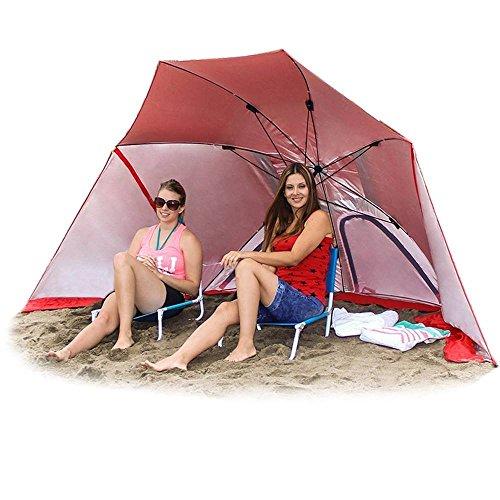 EasyGo Brella 2 in 1 Beach Umbrella, Red (Super Brella Beach Umbrella)