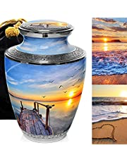 Dock of The Bay Cremation Urns for Human Ashes Adult for Funeral, Burial, Columbarium or Home, Cremation Urns for Human Ashes Adult 200 Cubic Inches, Urns for Ashes (Dock of The Bay, Adult/Large)