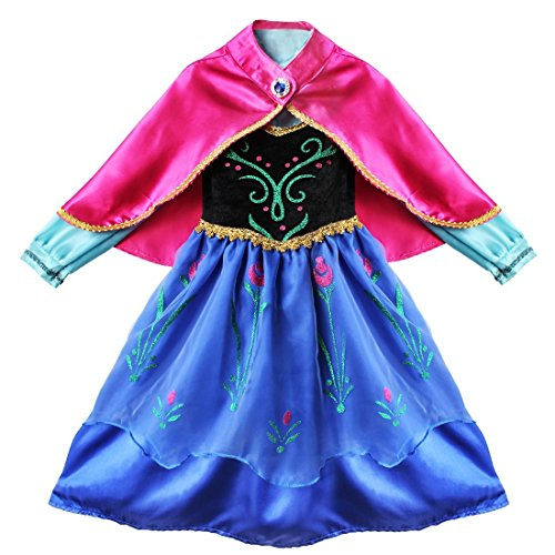 YiZYiF Kids Princess Cosplay Outfits Girls Birthday Fancy Dress up with Cape 3-4 -