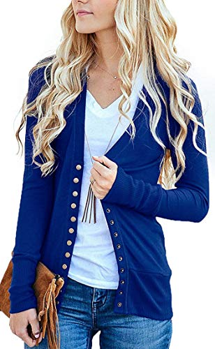 Blue Cotton Cardigan - Women's S-3XL Solid Button Front Knitwears Long Sleeve Casual Cardigans Sapphire L