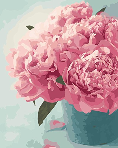 Paint by numbers kit, wooden framed, DIY oil painting - Peonies (16x20 inch.)