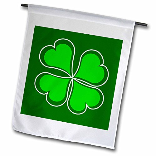 Lucky Shamrock Flag (3dRose fl_77561_1 Lucky Green Shamrock Garden Flag, 12 by 18-Inch)