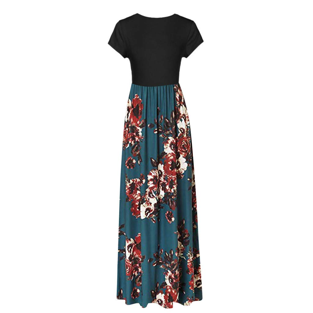 Sundresses for Women Nuewofally Casual Short Sleeve Round Neck Vintage Print Long Dress Party Night Dress with Pockets